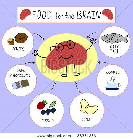 info graphics on the topic of Proper nutrition for the brain