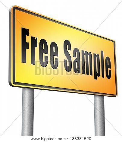 Free product sample offer or gratis download webshop button or web shop, road sign billboard.