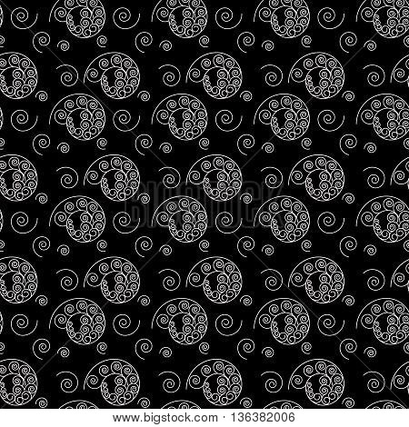 Spiral white seamless pattern. Fashion graphic background design. Modern stylish abstract texture. Monochrome template for prints textiles wrapping wallpaper website. VECTOR illustration
