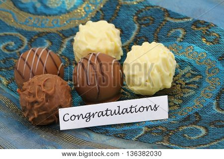 Congratulations card with assorted chocolates, pralines and truffles