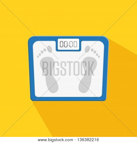 Scales in flat style on white background with shadow. Personal human scales overweight, dieting healthcare balance object. Body measure scales icon lifestyle fitness measurement instrument.