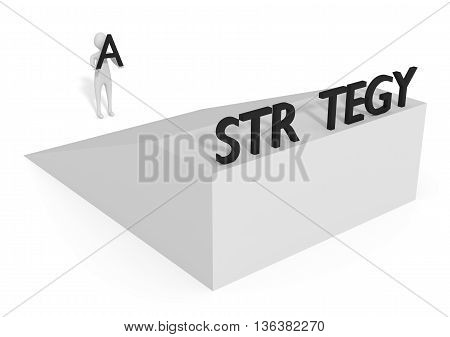 Missing letter: Strategy on a ramp 3d illustration