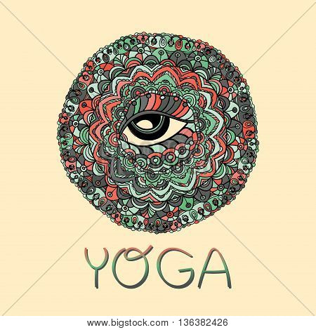 Mystical Vector Mandala. Hand drawn Round Ornament Pattern. Islam, Arabic, Indian, ottoman motifs. The all seeing eye. Yoga design.