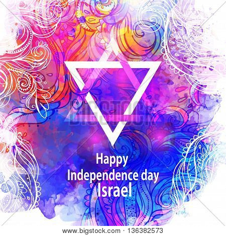 Gretting card Happy independence day of Israel. Blue color. Vector illustration