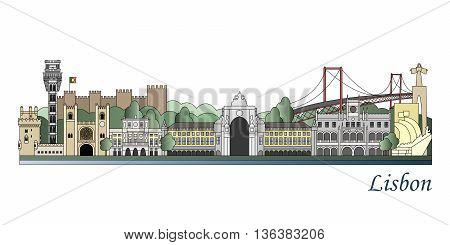 Lisbon Skyline Colored