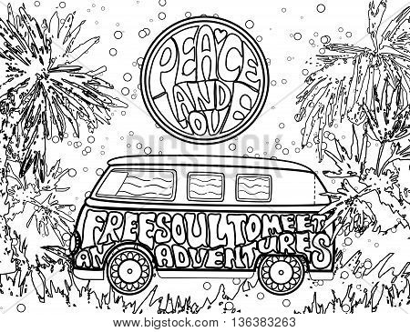 Hippie vintage car a mini van. Ornamental background. Love and Music with hand-written fonts. Adult Coloring book. . Hippy color vector illustration. Retro 1960s, 60s, 70s