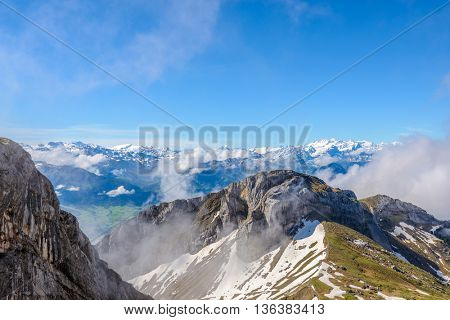 The Swiss Alps from the Pilatus Peak.