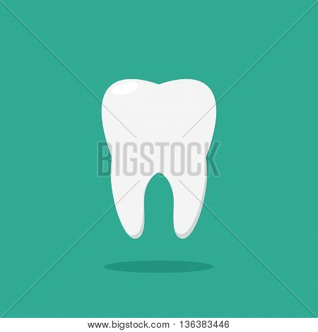 Tooth icon in flat style isolated on background. Health, medical or doctor and dentist office symbols. Oral care, dental icon clinic white tooth.