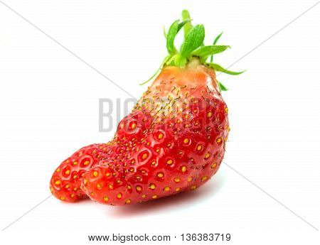 Strawberry  red, organic isolated on white background