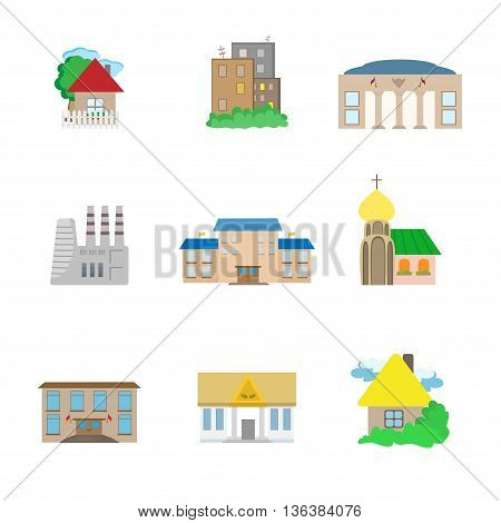 Icons of flat urban architectural buildings isolated on white background