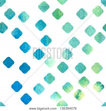Vector seamless pattern. Green and blue watercolor drawn rhombs.