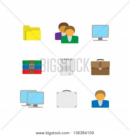 Nice bright flat icons for computer and internet