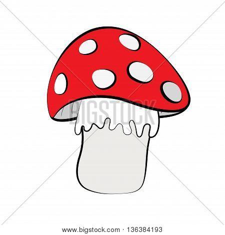 Red mushroom isolated on white background cartoon