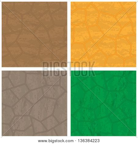 Four stone backrounds different colors isolated on white