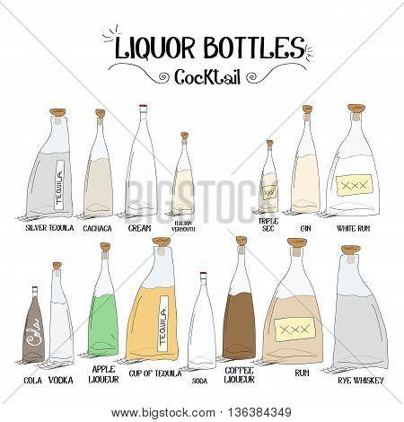 Set of alcohol to make cocktails board set for restaurants and bar business vector illustration