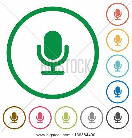 Set of Microphone color round outlined flat icons on white background