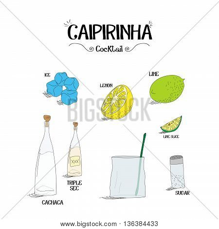 how to make a Caipirinha cocktail set with ingredients for restaurants and bar business vector illustration