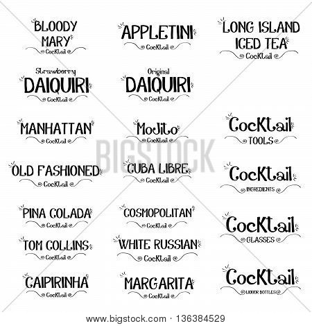 Set of cocktails logo for restaurants and bar business vector illustration