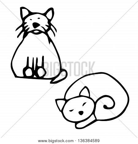 Drawing of two cats (set). Abstract drawing cats. Cat sitting and the cat is sleeping. Vector on white background