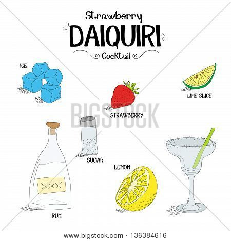 how to make a strawberry Daiquiri cocktail set with ingredients for restaurants and bar business vector illustration