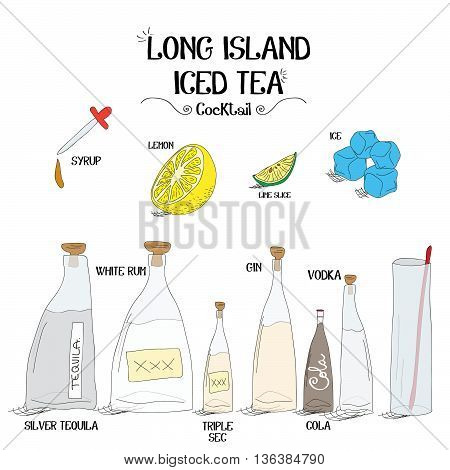 how to make a long island iced tea cocktail set with ingredients for restaurants and bar business vector illustration