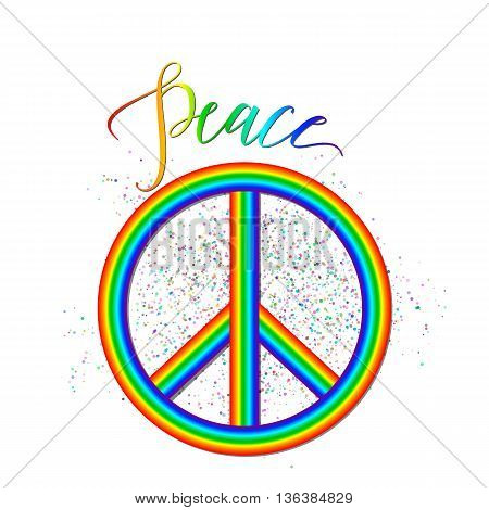 Vector illustration of rainbow peace logo with grunge effect, lettering sign isolated on white. Creative hipster background about accord, reconciliation, unity, amity for web or print design.