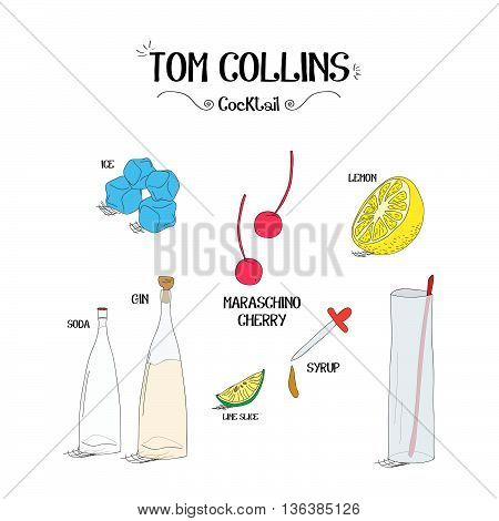how to make a Tom Collins cocktail set with ingredients for restaurants and bar business vector illustration