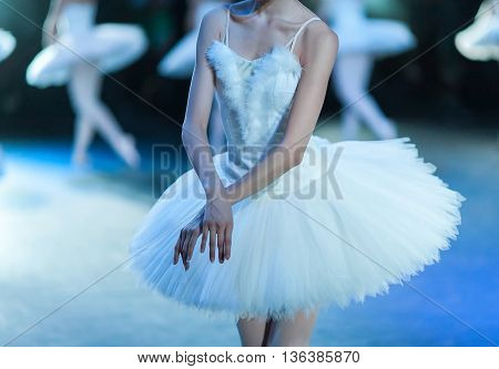 Hands of ballerinas. Ballet swan lake. Ballet statement. Ballerinas in the movement.