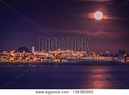 View of the Playa Blanca town at night, Lanzarote, Canary Islands, Spain