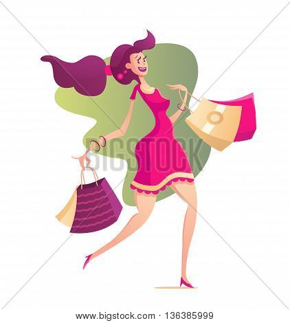 Happy girl with shopping bags - modern vector illustration with a female character walking after shopping