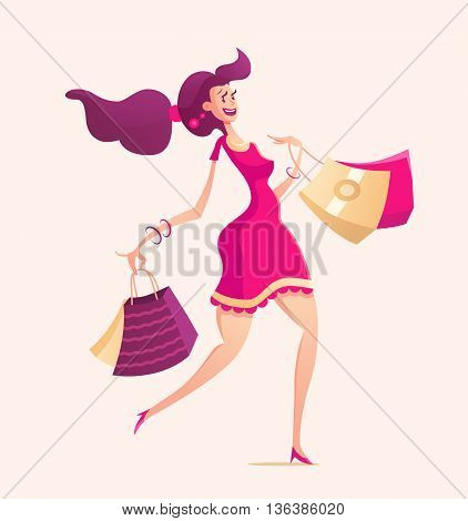 Happy girl with shopping bags - modern vector illustration with a female character walking after shopping - solid background