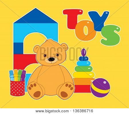 Vector colorful illustration for children, toys on a yellow background. Brown teddy bear, ball, blocks, felt tip pens and rainbow stacking rings tower. White outline. Horizontal format.