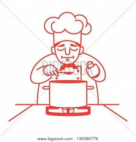 Vector illustration of a male chef standing at the gas stove with a big saucepan on it and tasting the soup. Red outline. Isolated on white. Square format.