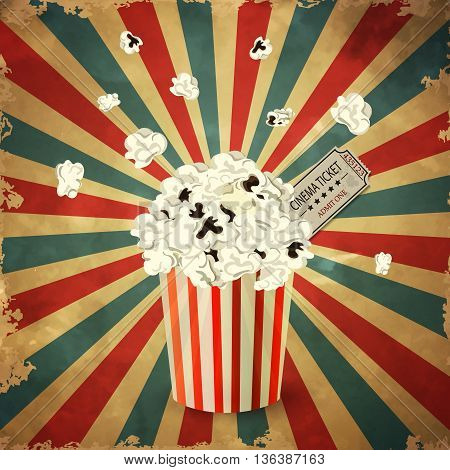 vector illustration of Popcorn box on grange old background