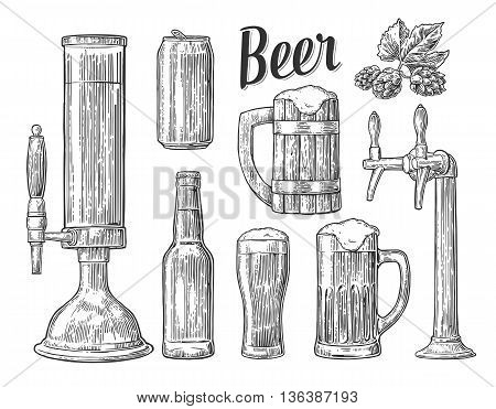 Beer tap class can bottle barrel and hop. Vintage vector engraving illustration for web poster invitation to beer party. Hand drawn design element isolated on white background.
