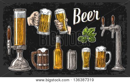Two hands holding beer glasses mug and tap class can bottle. Vintage vector engraving illustration for web poster invitation to beer party. Isolated on dark background.