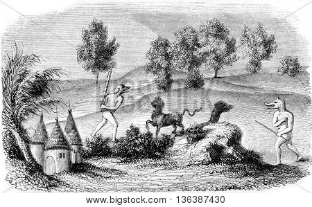 Cynocephaly fighting forest monsters, vintage engraved illustration. Magasin Pittoresque 1843.
