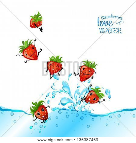 Strawberries love water. Strawberry character having fun in a water. Food illustration.