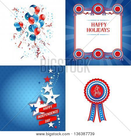 July fourth set. Independence day card. Holiday template for design banner,ticket, leaflet, card, poster and so on.