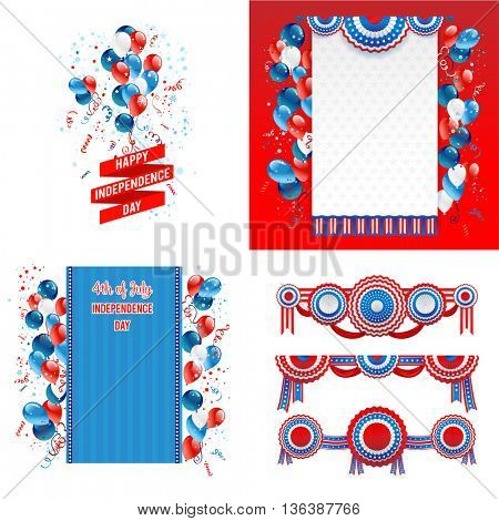 July fourth design elements. Independence day card. Holiday template for design banner,ticket, leaflet, card, poster and so on.