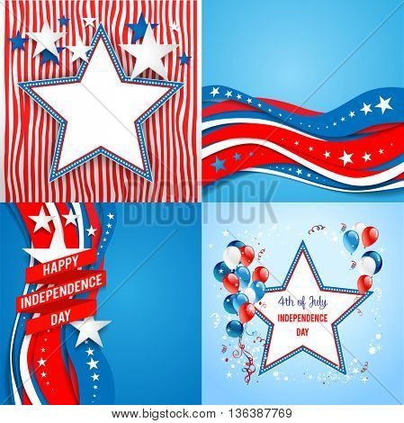 July fourth holiday set. Independence day card. Holiday template for design banner,ticket, leaflet, card, poster and so on.