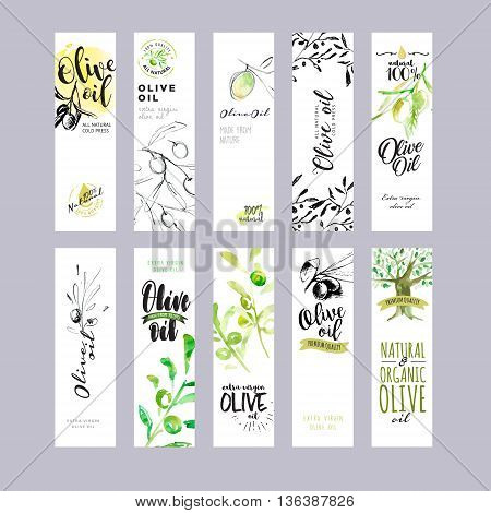 Set of olive oil labels. Ready to use hand drawn watercolor vector illustrations for olive oil packaging.