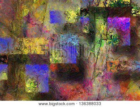 Colorful canvas, oil paint