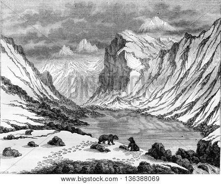 Fluela Pass, vintage engraved illustration. Magasin Pittoresque 1843.