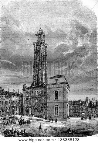 Belfry Valenciennes collapses April 7, 1843, vintage engraved illustration. Magasin Pittoresque 1843.