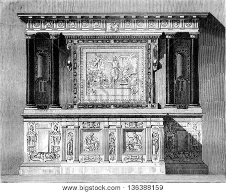 Altar of the chapel Ecouen up today in the Chantilly castle chapel, vintage engraved illustration. Magasin Pittoresque 1843.