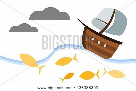 Wooden cartoon style sailboat. The boat is sailing in the sea among yellow fish. Vector illustration.