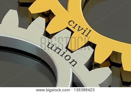 civil union concept on the gearwheels 3D rendering