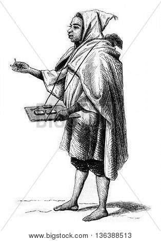 Arab merchant of chemical matches, vintage engraved illustration. Magasin Pittoresque 1843.