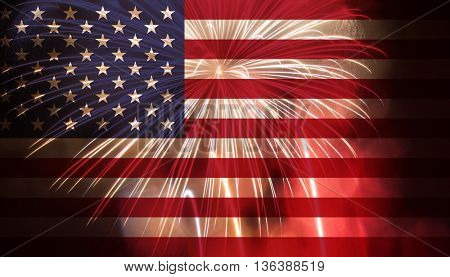 Celebratory fireworks on the background of the US flag. Independence day